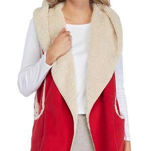 HUE Red Hooded Sherpa Fleece Vest